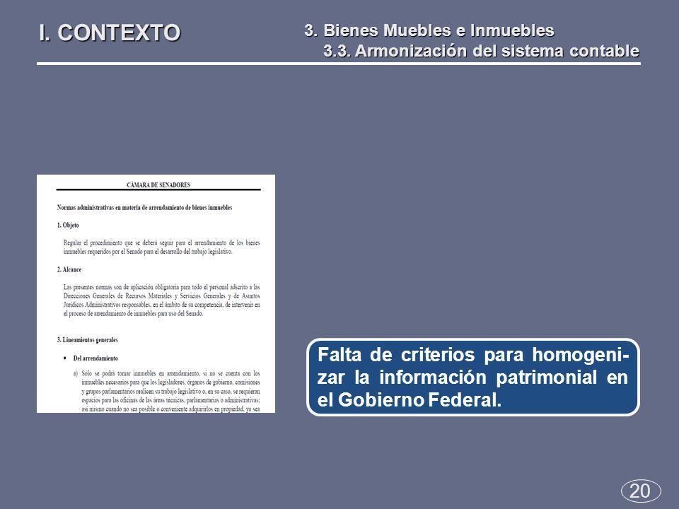20 Falta de criterios para homogeni- zar la información patrimonial en el Gobierno Federal.