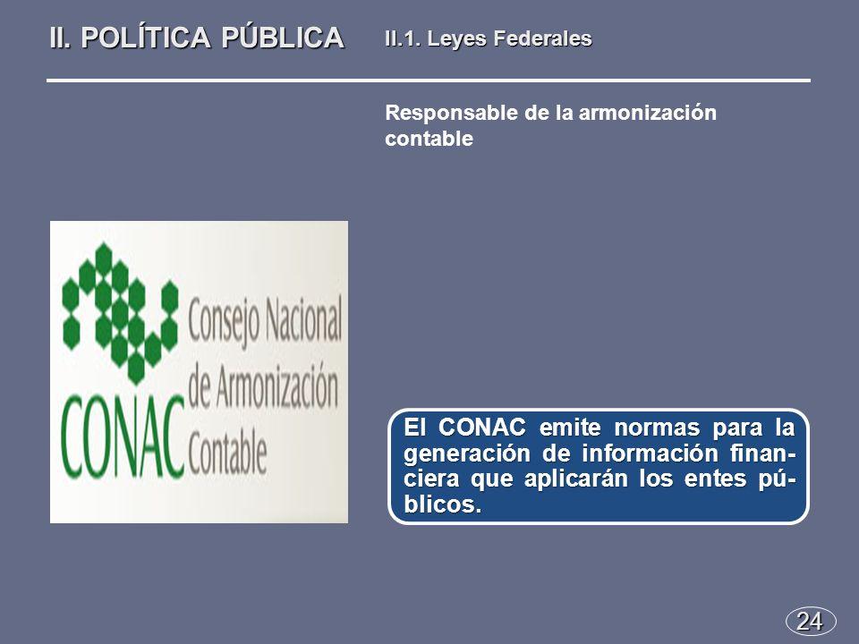 24 El CONAC emite normas para la generación de información finan- ciera que aplicarán los entes pú- blicos.
