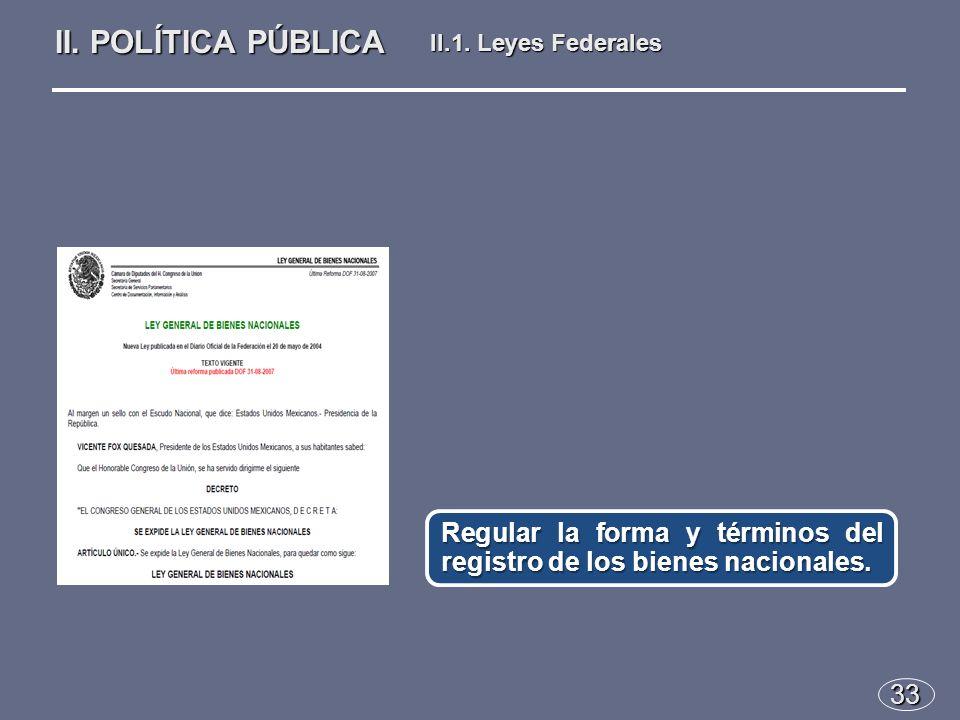 33 Regular la forma y términos del registro de los bienes nacionales.