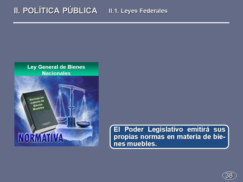 38 El Poder Legislativo emitirá sus propias normas en materia de bie- nes muebles.