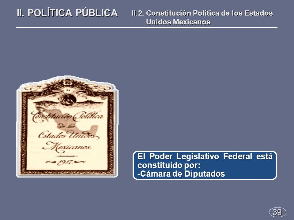 39 El Poder Legislativo Federal está constituido por: -Cámara de Diputados II.