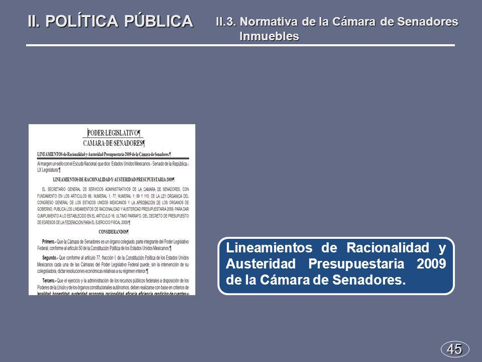 45 Lineamientos de Racionalidad y Austeridad Presupuestaria 2009 de la Cámara de Senadores.