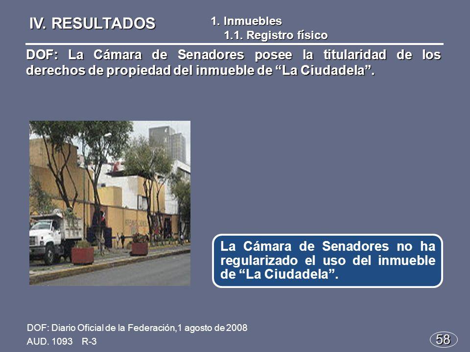 58 La Cámara de Senadores no ha regularizado el uso del inmueble de La Ciudadela.