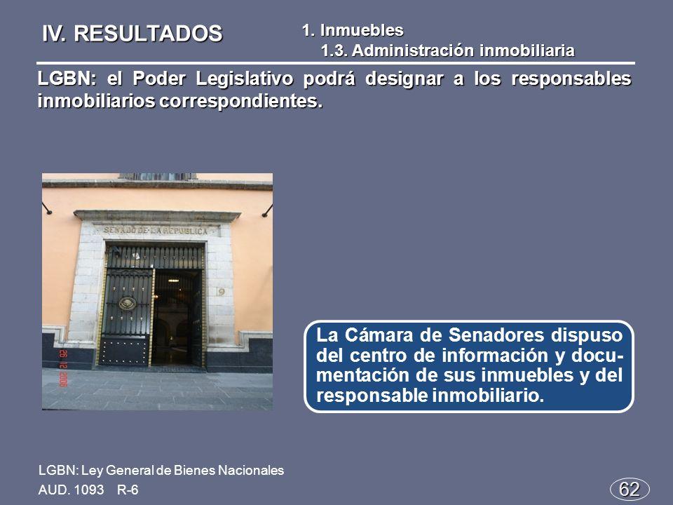 62 La Cámara de Senadores dispuso del centro de información y docu- mentación de sus inmuebles y del responsable inmobiliario.