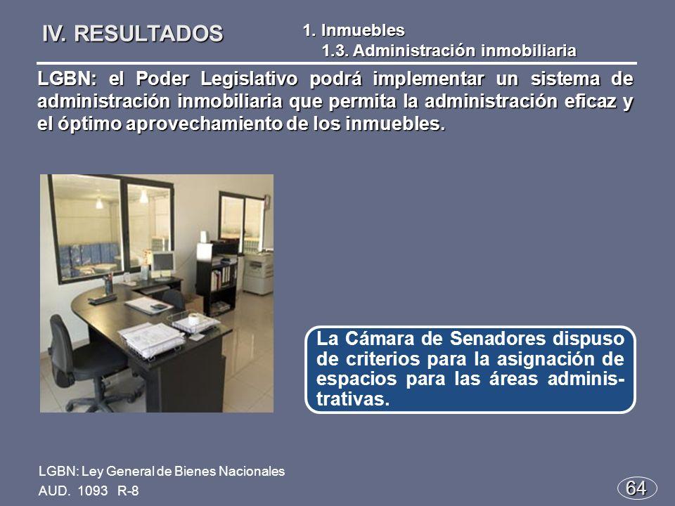 64 La Cámara de Senadores dispuso de criterios para la asignación de espacios para las áreas adminis- trativas.
