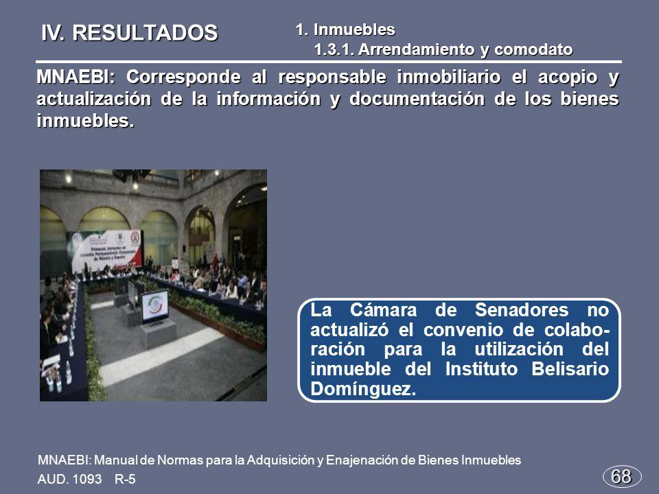 68 La Cámara de Senadores no actualizó el convenio de colabo- ración para la utilización del inmueble del Instituto Belisario Domínguez.