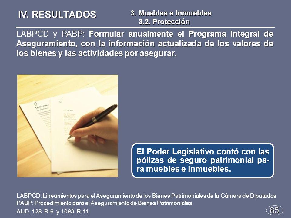 85 El Poder Legislativo contó con las pólizas de seguro patrimonial pa- ra muebles e inmuebles.