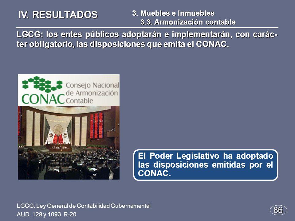 86 El Poder Legislativo ha adoptado las disposiciones emitidas por el CONAC.