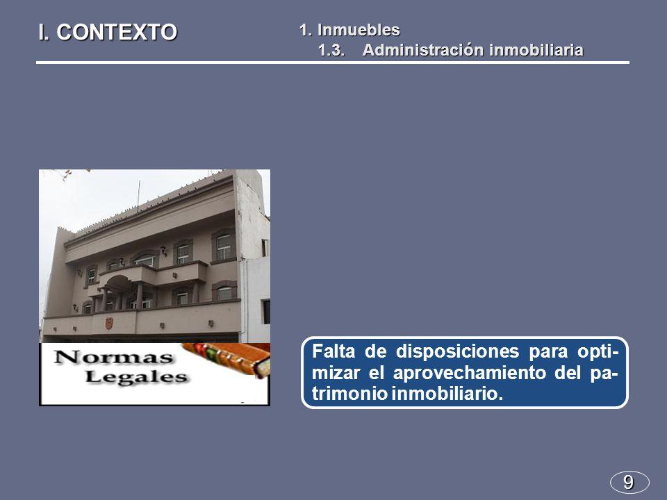 9 Falta de disposiciones para opti- mizar el aprovechamiento del pa- trimonio inmobiliario.
