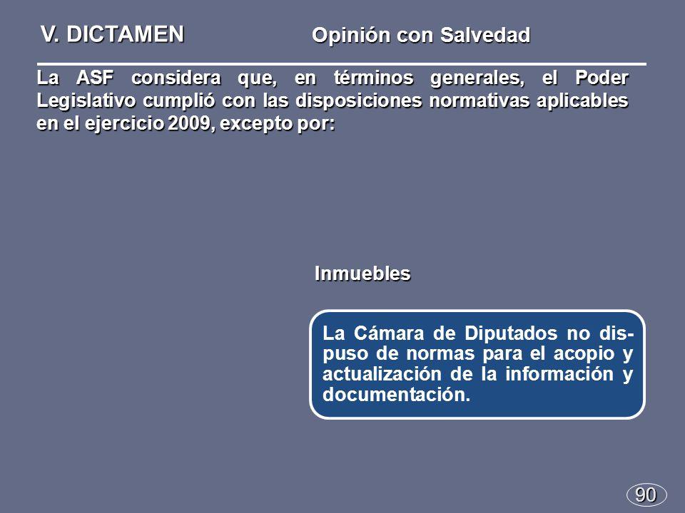 90 Opinión con Salvedad La Cámara de Diputados no dis- puso de normas para el acopio y actualización de la información y documentación.