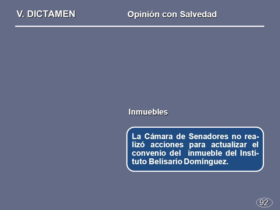 92 La Cámara de Senadores no rea- lizó acciones para actualizar el convenio del inmueble del Insti- tuto Belisario Domínguez.