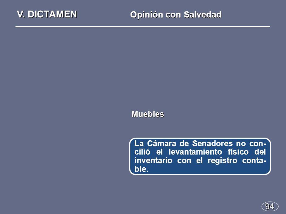 94 La Cámara de Senadores no con- cilió el levantamiento físico del inventario con el registro conta- ble.