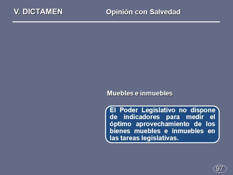 97 El Poder Legislativo no dispone de indicadores para medir el óptimo aprovechamiento de los bienes muebles e inmuebles en las tareas legislativas.