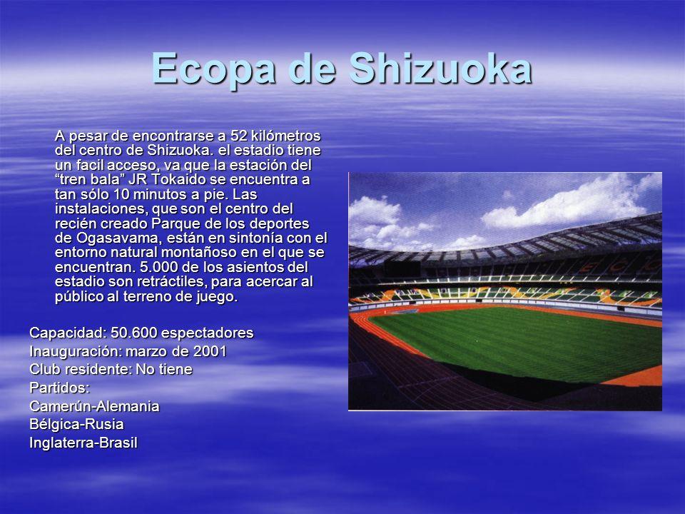 Ecopa de Shizuoka A pesar de encontrarse a 52 kilómetros del centro de Shizuoka. el estadio tiene un facil acceso, va que la estación del tren bala JR