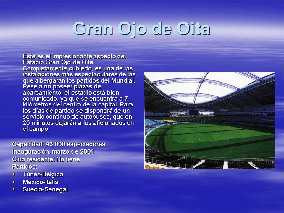 Gran Ojo de Oita Este es el impresionante aspecto del Estadio Gran Ojo de Oita. Completamente cubierto, es una de las instalaciones más espectaculares
