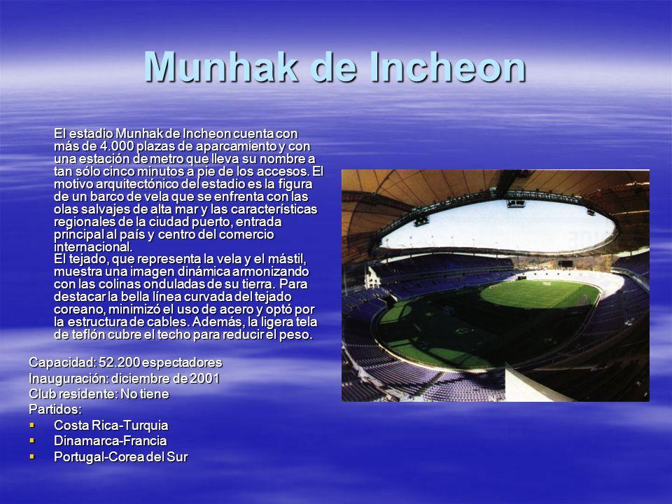 Munhak de Incheon El estadio Munhak de Incheon cuenta con más de 4.000 plazas de aparcamiento y con una estación de metro que lleva su nombre a tan só