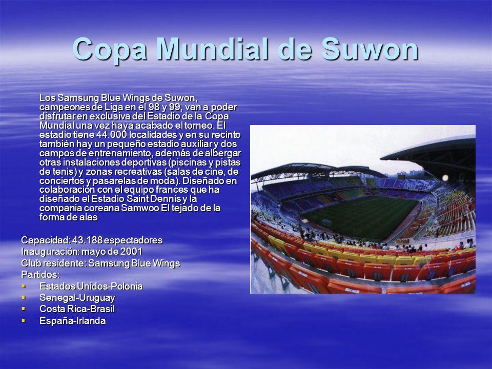 Copa Mundial de Suwon Los Samsung Blue Wings de Suwon, campeones de Liga en el 98 y 99, van a poder disfrutar en exclusiva del Estadio de la Copa Mund