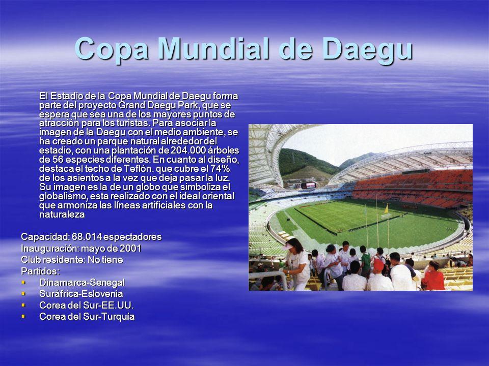 Copa Mundial de Daegu El Estadio de la Copa Mundial de Daegu forma parte del proyecto Grand Daegu Park, que se espera que sea una de los mayores punto