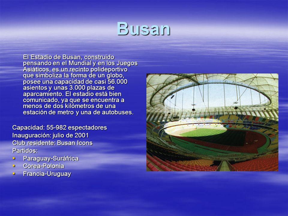 Busan El Estadio de Busan, construido pensando en el Mundial y en los Juegos Asiáticos, es un recinto polideportivo que simboliza la forma de un globo