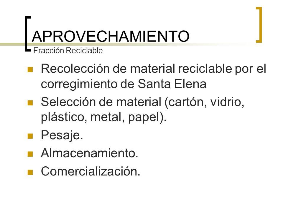 Recolección de material reciclable por el corregimiento de Santa Elena Selección de material (cartón, vidrio, plástico, metal, papel). Pesaje. Almacen