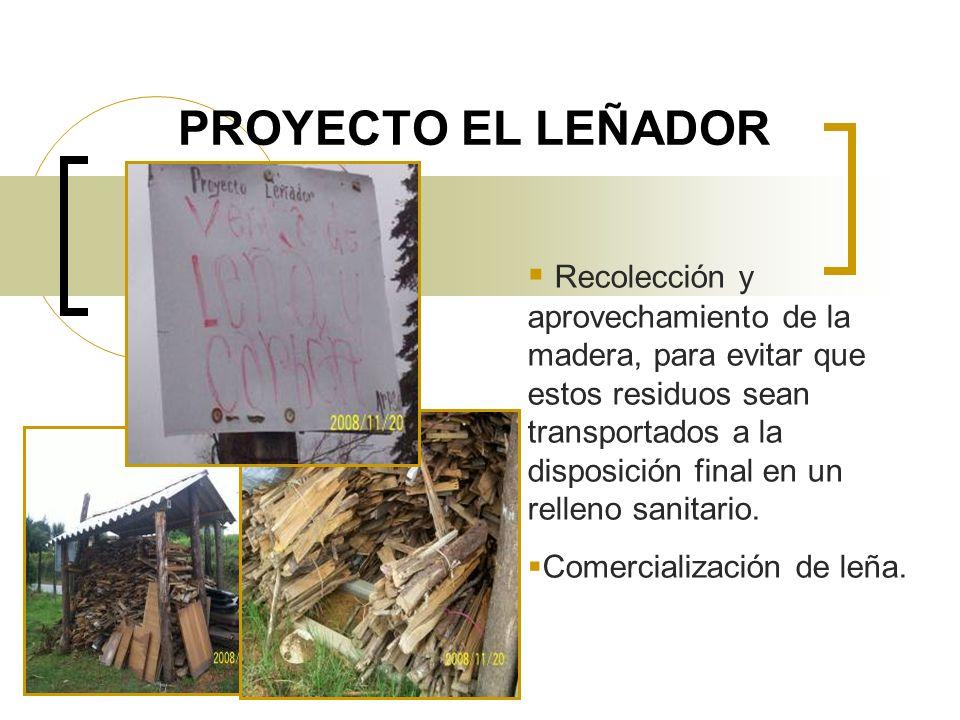 PROYECTO EL LEÑADOR Recolección y aprovechamiento de la madera, para evitar que estos residuos sean transportados a la disposición final en un relleno