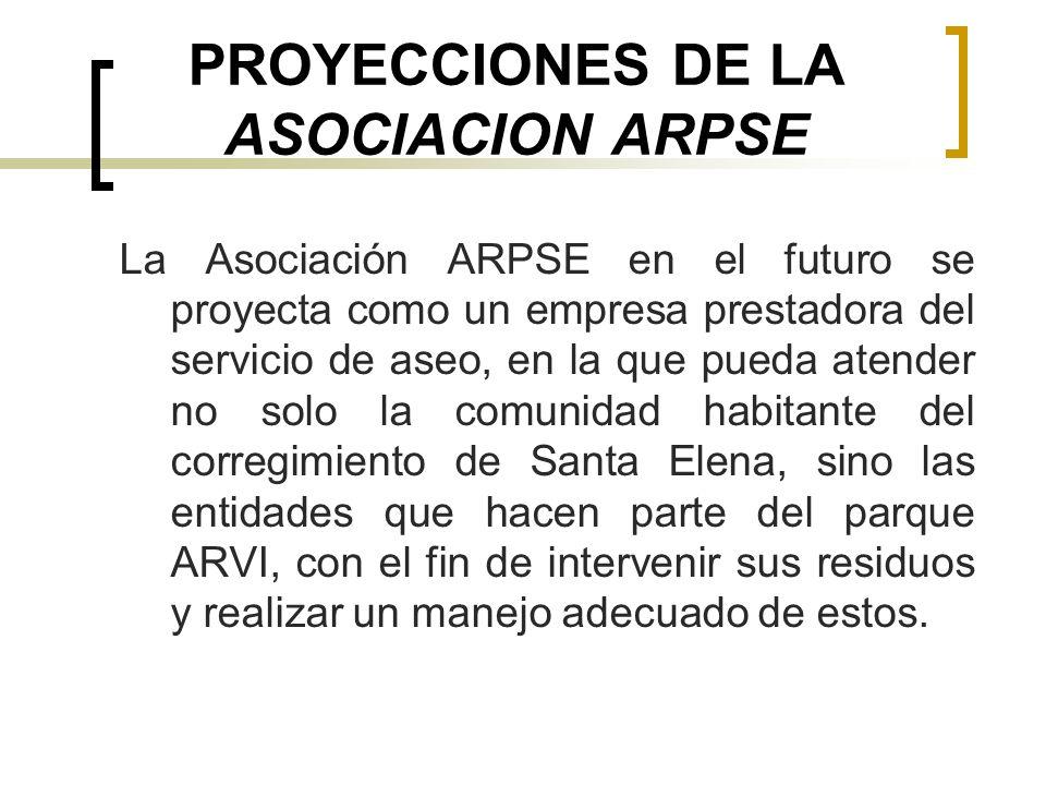 PROYECCIONES DE LA ASOCIACION ARPSE La Asociación ARPSE en el futuro se proyecta como un empresa prestadora del servicio de aseo, en la que pueda aten