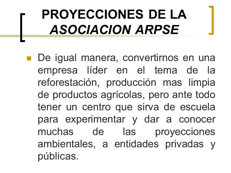 PROYECCIONES DE LA ASOCIACION ARPSE De igual manera, convertirnos en una empresa líder en el tema de la reforestación, producción mas limpia de produc