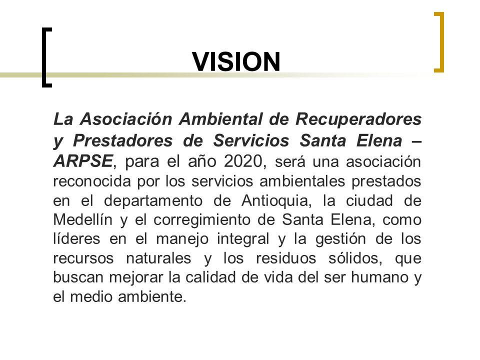 VISION La Asociación Ambiental de Recuperadores y Prestadores de Servicios Santa Elena – ARPSE, para el año 2020, será una asociación reconocida por l