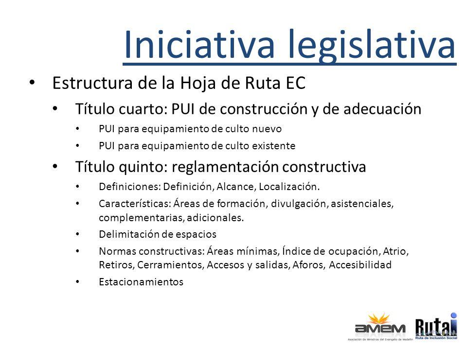Iniciativa legislativa Estructura de la Hoja de Ruta EC Título cuarto: PUI de construcción y de adecuación PUI para equipamiento de culto nuevo PUI pa