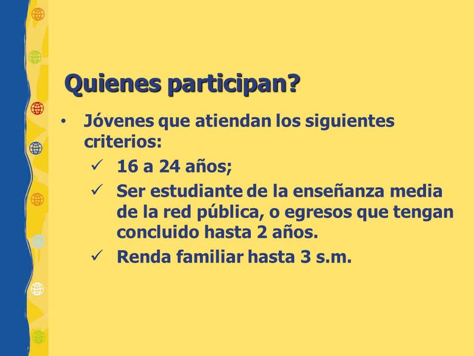 Quienes participan? Jóvenes que atiendan los siguientes criterios: 16 a 24 años; Ser estudiante de la enseñanza media de la red pública, o egresos que