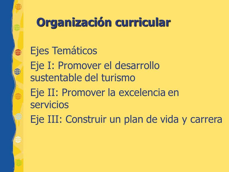 Organización curricular Ejes Temáticos Eje I: Promover el desarrollo sustentable del turismo Eje II: Promover la excelencia en servicios Eje III: Cons