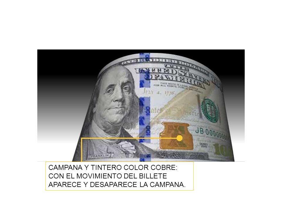 CAMPANA Y TINTERO COLOR COBRE: CON EL MOVIMIENTO DEL BILLETE APARECE Y DESAPARECE LA CAMPANA.
