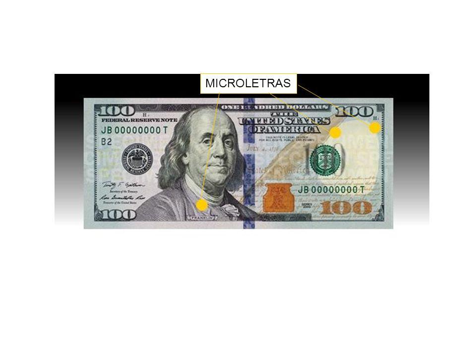 MICROIMPRESIONES: ONE HUNDRED USA EN EL BORDE DE LA PLUMA; USA Y 100 ALREDEDOR DEL ESPACIO QUE CONTIENE LA MARCA DE AGUA; THE UNITED STATES OF AMERICA EN EL CUELLO DEL SACO Y PEQUEÑOS 100 EN EL BORDE DEL BILLETE.