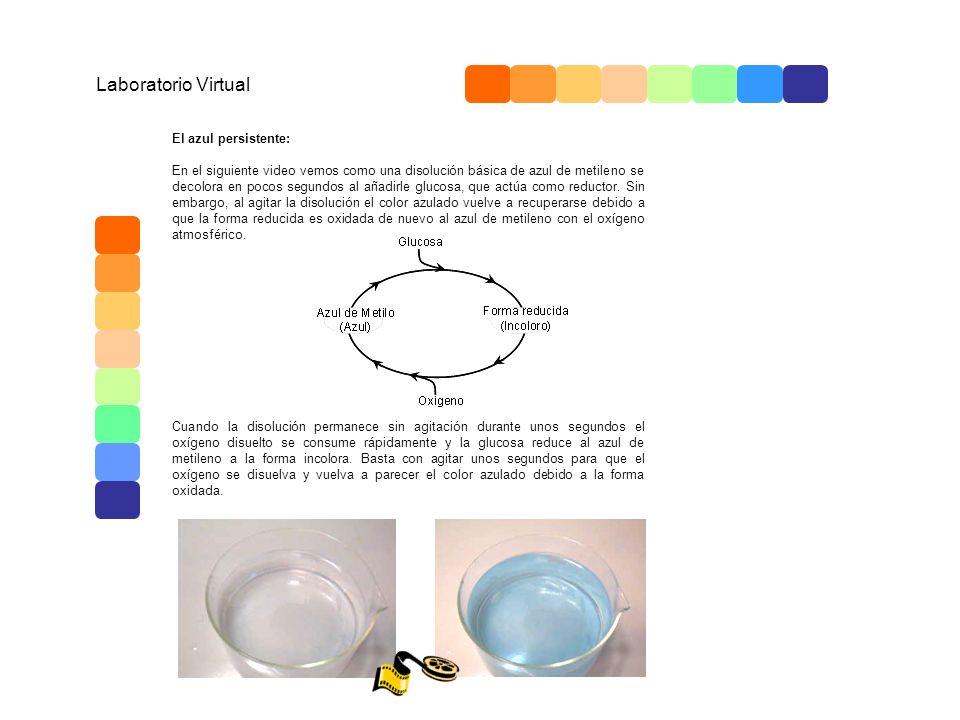 Laboratorio Virtual El azul persistente: En el siguiente video vemos como una disolución básica de azul de metileno se decolora en pocos segundos al a