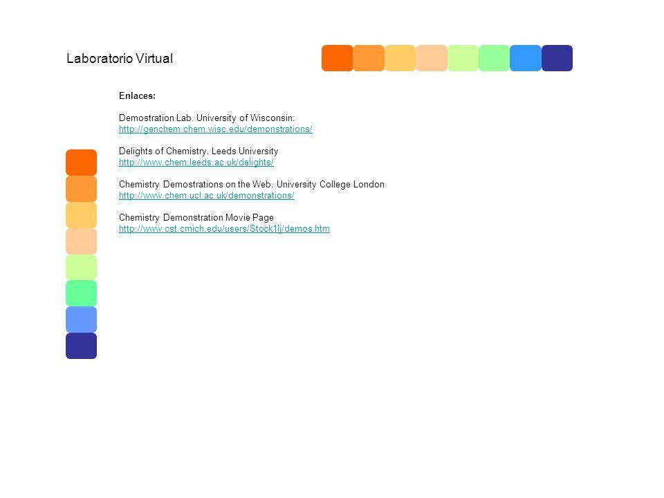 Laboratorio Virtual Enlaces: Demostration Lab. University of Wisconsin: http://genchem.chem.wisc.edu/demonstrations/ Delights of Chemistry. Leeds Univ