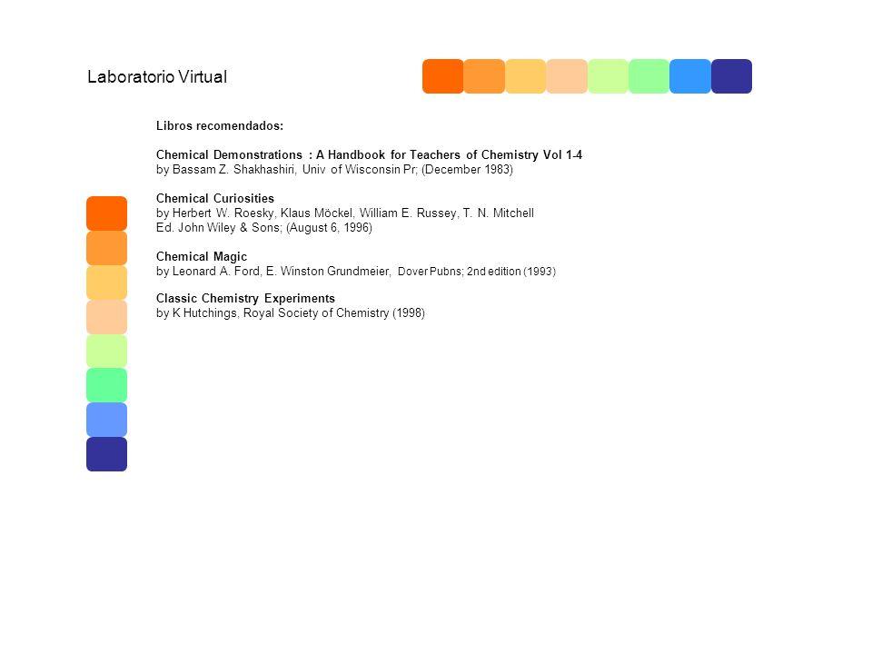 Laboratorio Virtual Libros recomendados: Chemical Demonstrations : A Handbook for Teachers of Chemistry Vol 1-4 by Bassam Z. Shakhashiri, Univ of Wisc
