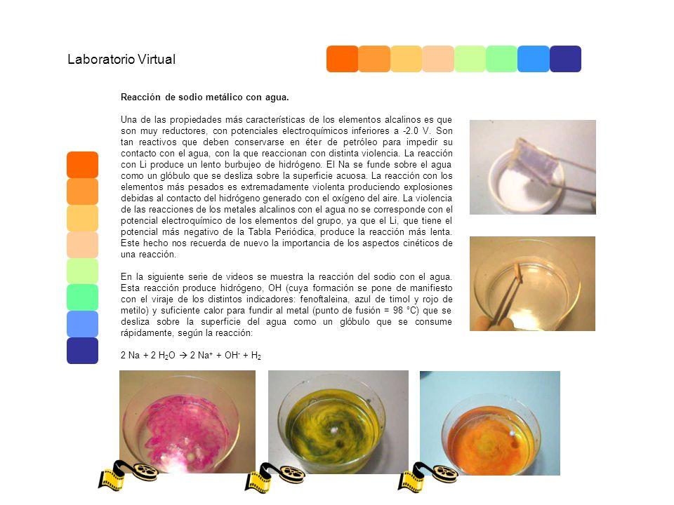 Laboratorio Virtual Reacción de sodio metálico con agua. Una de las propiedades más características de los elementos alcalinos es que son muy reductor