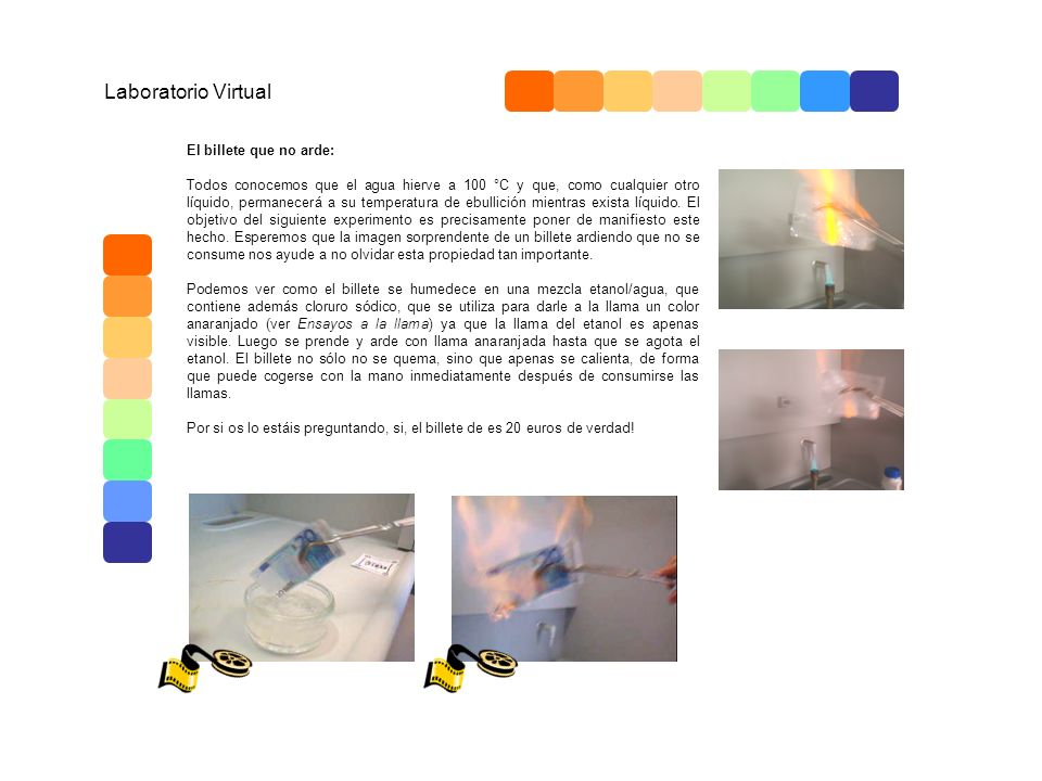 Laboratorio Virtual El billete que no arde: Todos conocemos que el agua hierve a 100 °C y que, como cualquier otro líquido, permanecerá a su temperatu