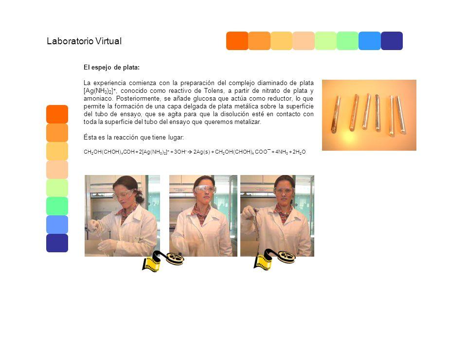 Laboratorio Virtual El espejo de plata: La experiencia comienza con la preparación del complejo diaminado de plata [Ag(NH 3 ) 2 ] +, conocido como rea