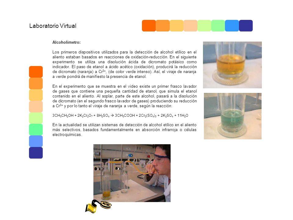 Laboratorio Virtual Alcoholímetro: Los primeros dispositivos utilizados para la detección de alcohol etílico en el aliento estaban basados en reaccion