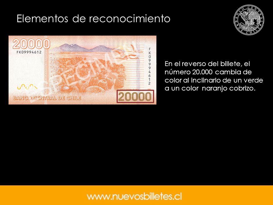 En el reverso del billete, el número 20.000 cambia de color al inclinarlo de un verde a un color naranjo cobrizo.