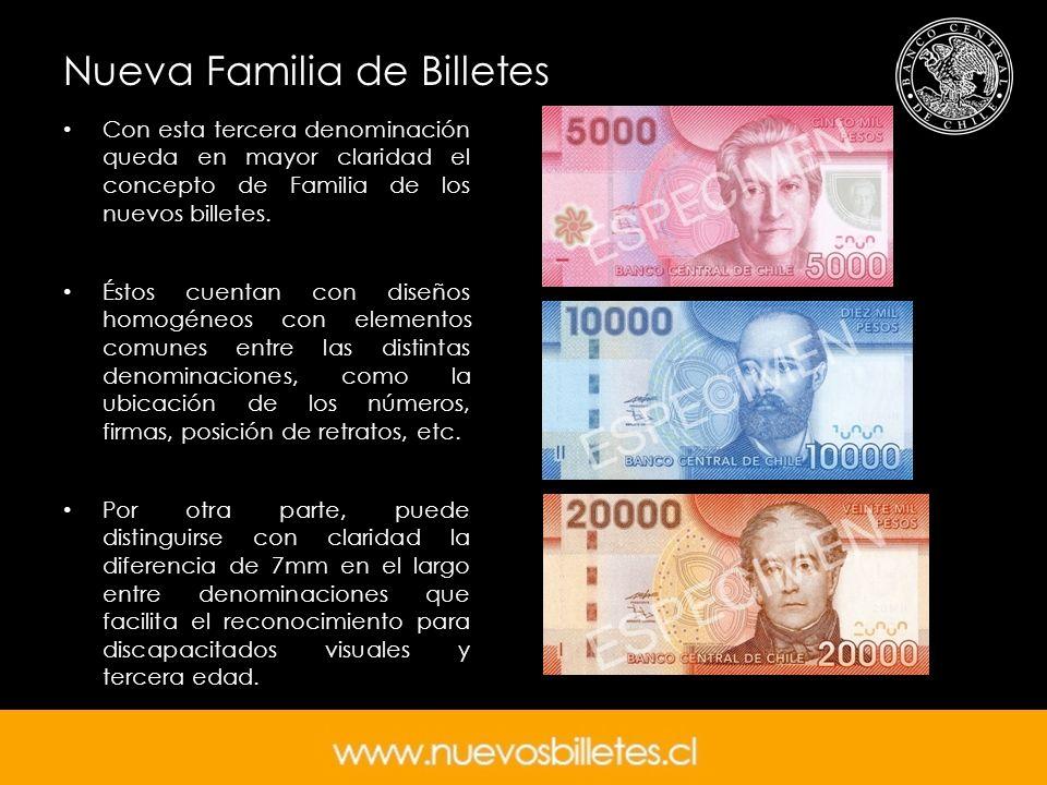 Nueva Familia de Billetes Con esta tercera denominación queda en mayor claridad el concepto de Familia de los nuevos billetes. Éstos cuentan con diseñ