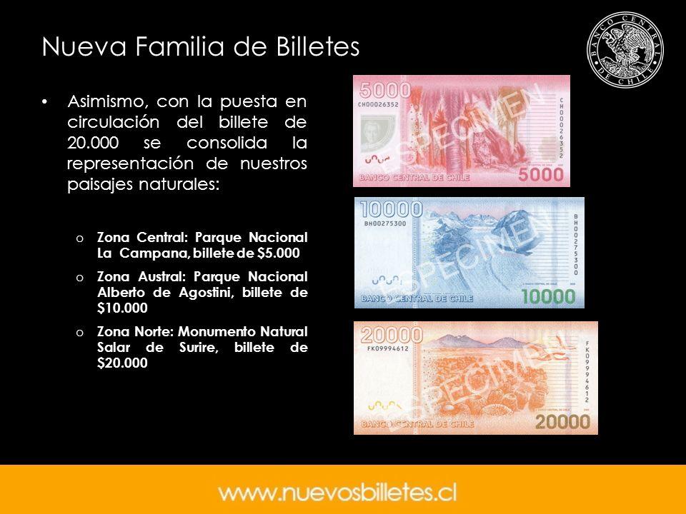 Nueva Familia de Billetes Asimismo, con la puesta en circulación del billete de 20.000 se consolida la representación de nuestros paisajes naturales: