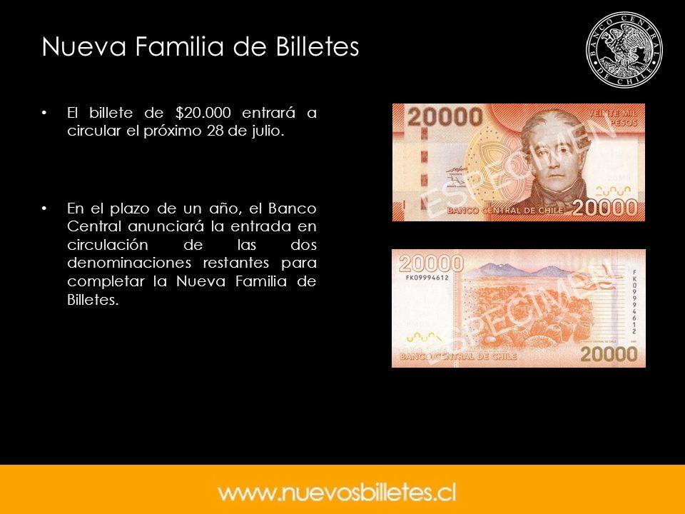 Nueva Familia de Billetes El billete de $20.000 entrará a circular el próximo 28 de julio. En el plazo de un año, el Banco Central anunciará la entrad
