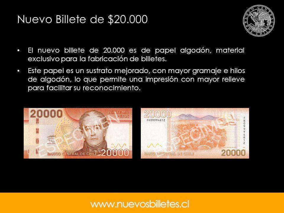 Nuevo Billete de $20.000 El nuevo billete de 20.000 es de papel algodón, material exclusivo para la fabricación de billetes. Este papel es un sustrato