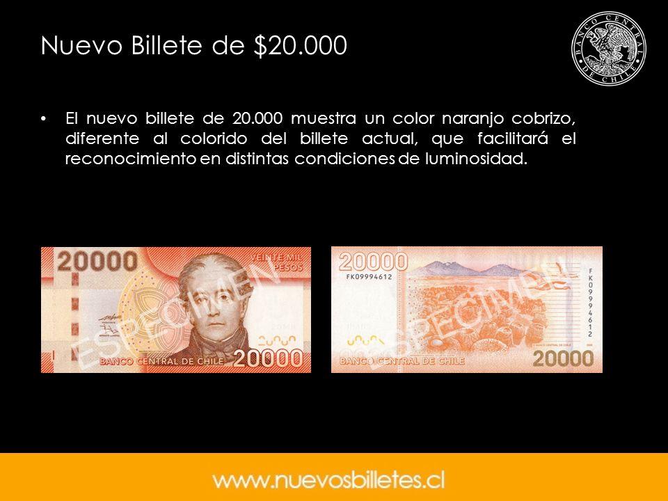 Nuevo Billete de $20.000 El nuevo billete de 20.000 muestra un color naranjo cobrizo, diferente al colorido del billete actual, que facilitará el reco