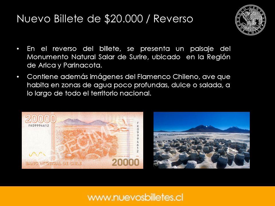 Nuevo Billete de $20.000 / Reverso En el reverso del billete, se presenta un paisaje del Monumento Natural Salar de Surire, ubicado en la Región de Ar