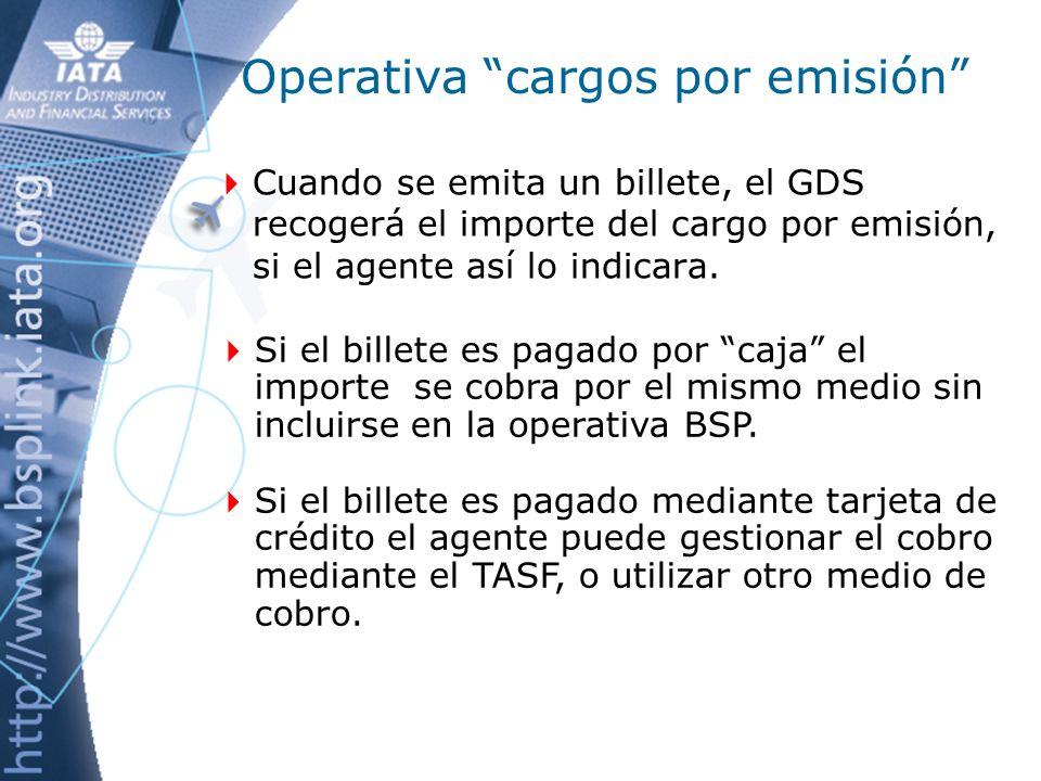 Operativa cargos por emisión Cobro al pasajero: Sin TASF.