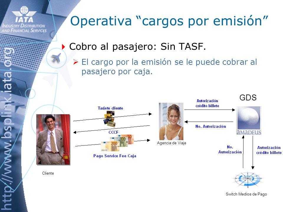 Operativa cargos por emisión Gestión de cobro: Con TASF.