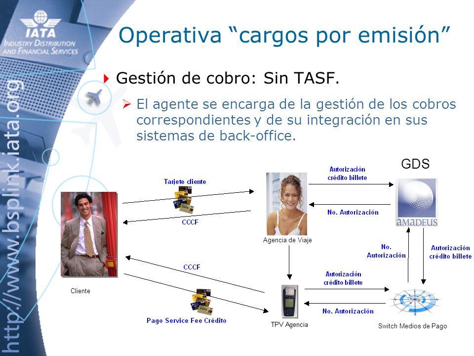 Operativa cargos por emisión Cobro al pasajero: Con TASF.